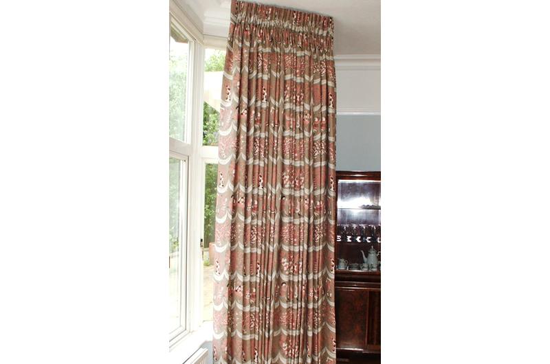 handmade bespoke curtains  bay pole