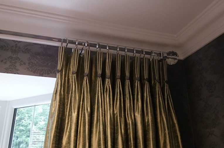handmade bespoke pinch pleat curtains  button  acrylic pole